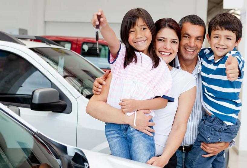 family buying a car