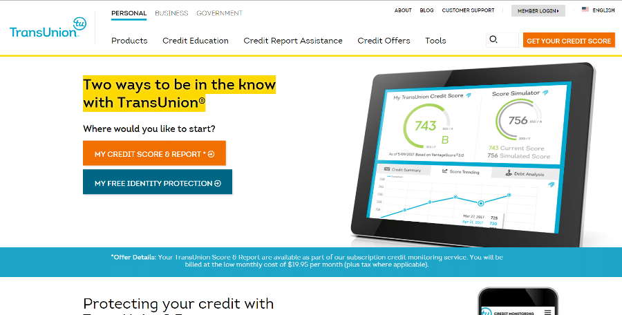 TransUnion's website